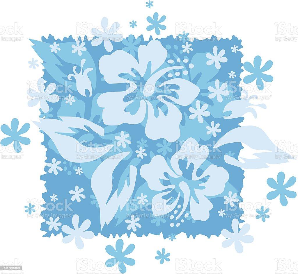 Ocean Blue Hibiscus Motif vector art illustration