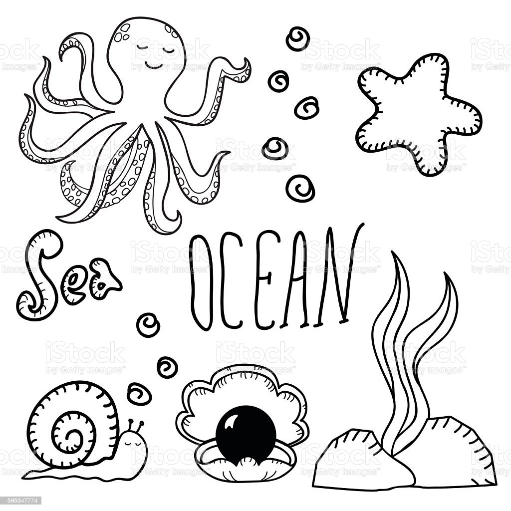 Ocean bottom. vector art illustration