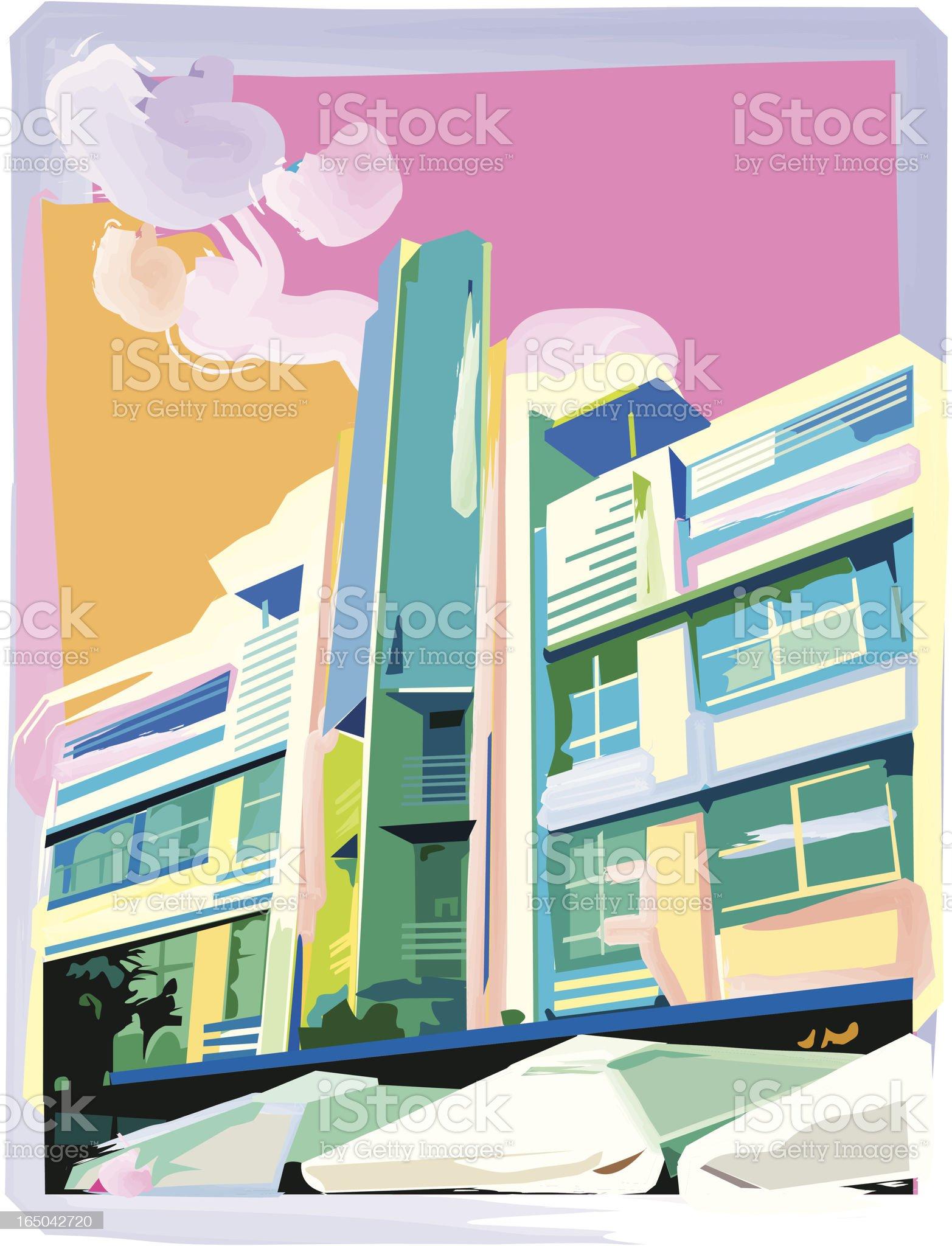 Ocean Drive Hotel royalty-free stock vector art
