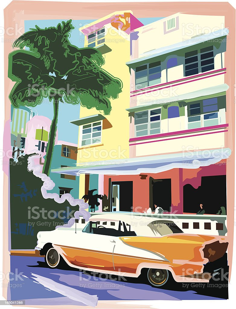 Ocean Drive Hotel with Roadster royalty-free stock vector art