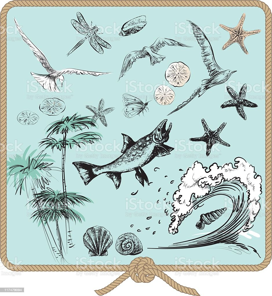 Ocean Elements Set with Animals,Palms and Waves on Green vector art illustration