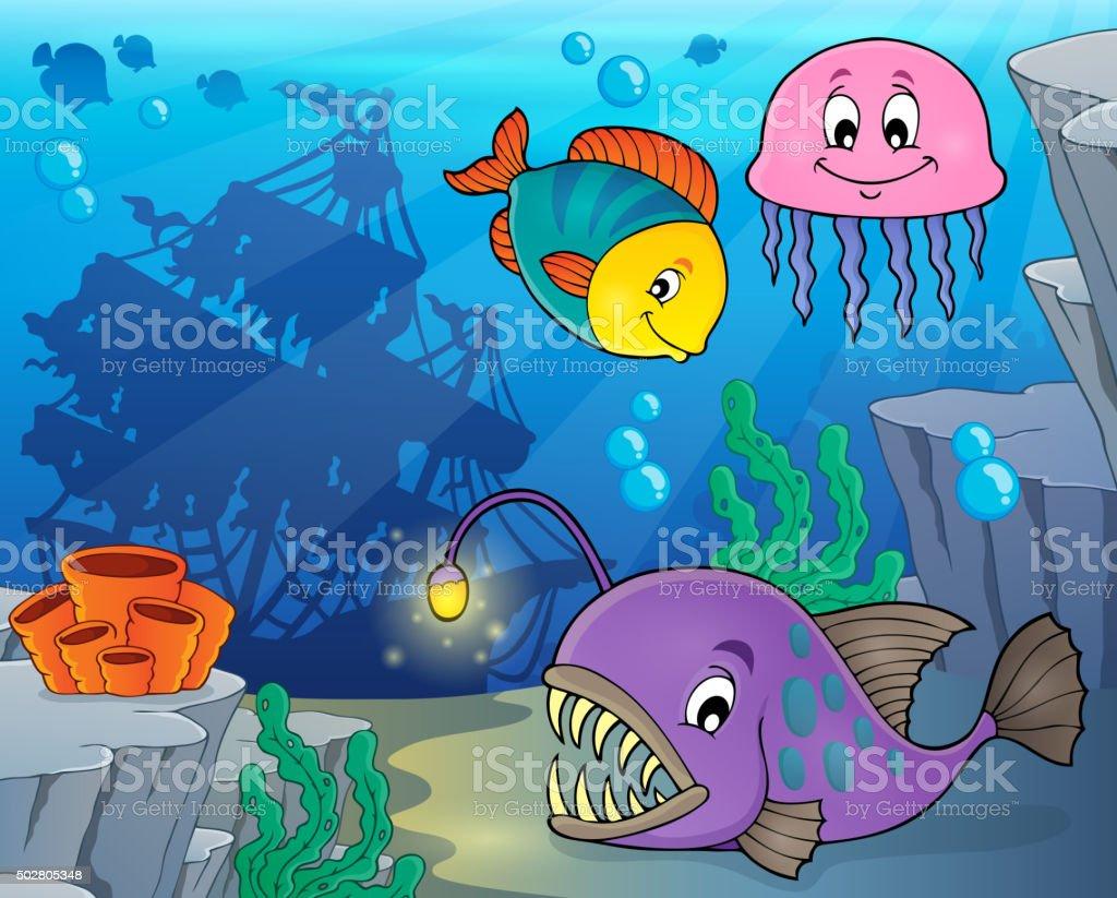 Ocean fauna topic image 3 vector art illustration