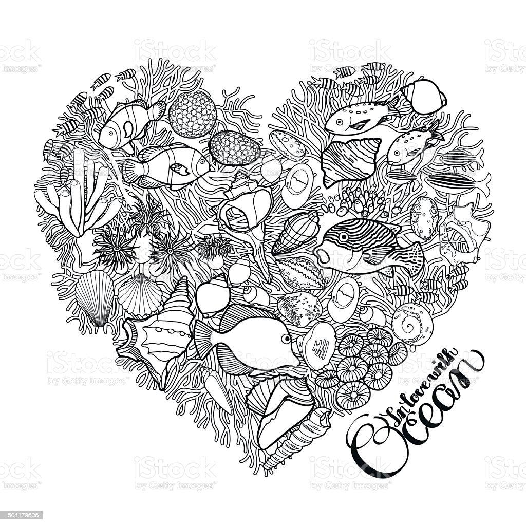 Ocean life in the shape of heart vector art illustration