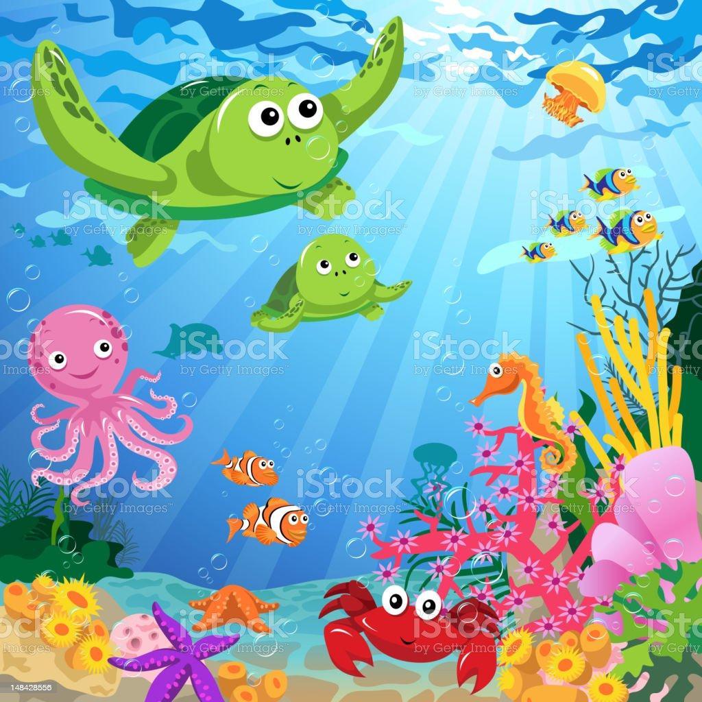Ocean Life Under the Sea vector art illustration