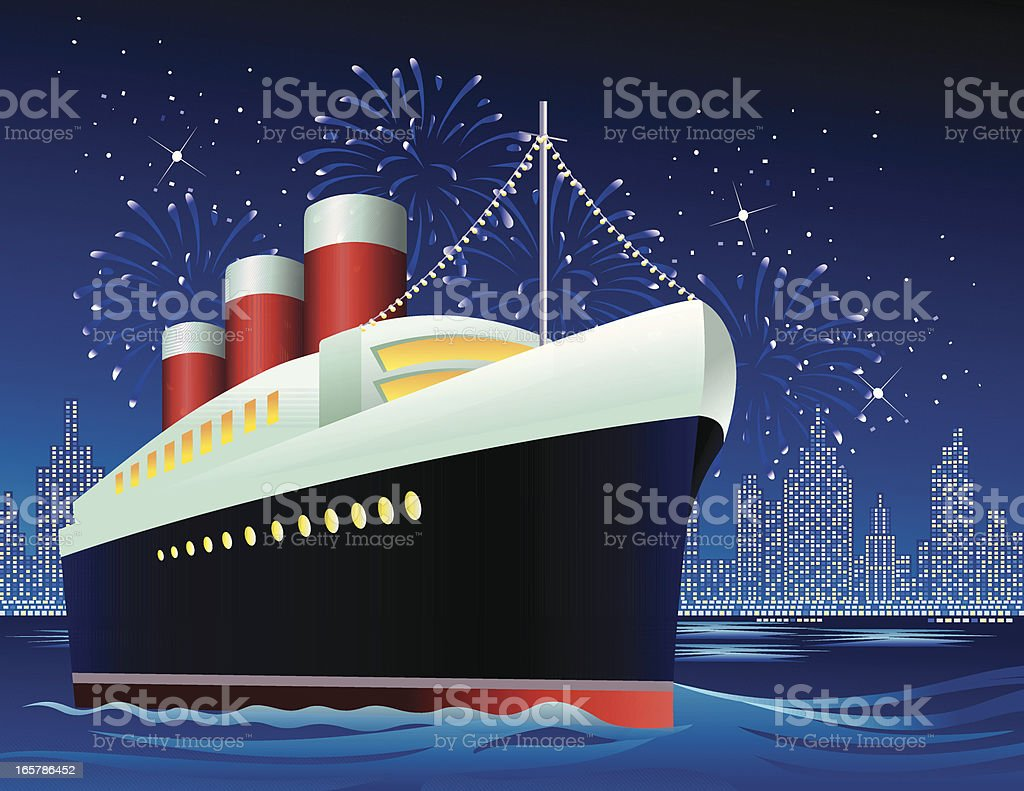 Ocean liner in harbor vector art illustration