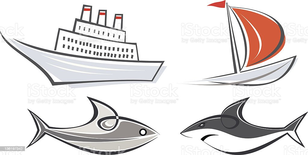 ocean liner, yacht, shark and fish- icons vector art illustration