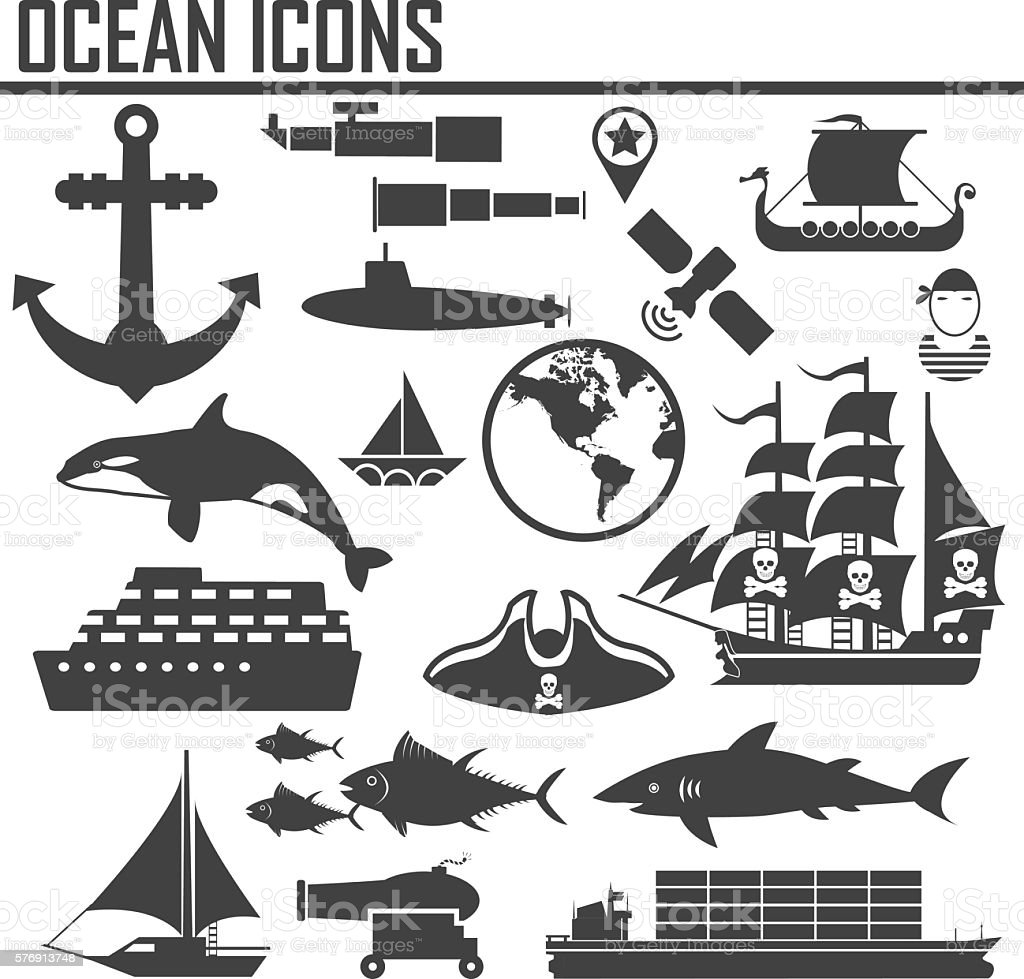Ocean Nautical and marine icons vector art illustration