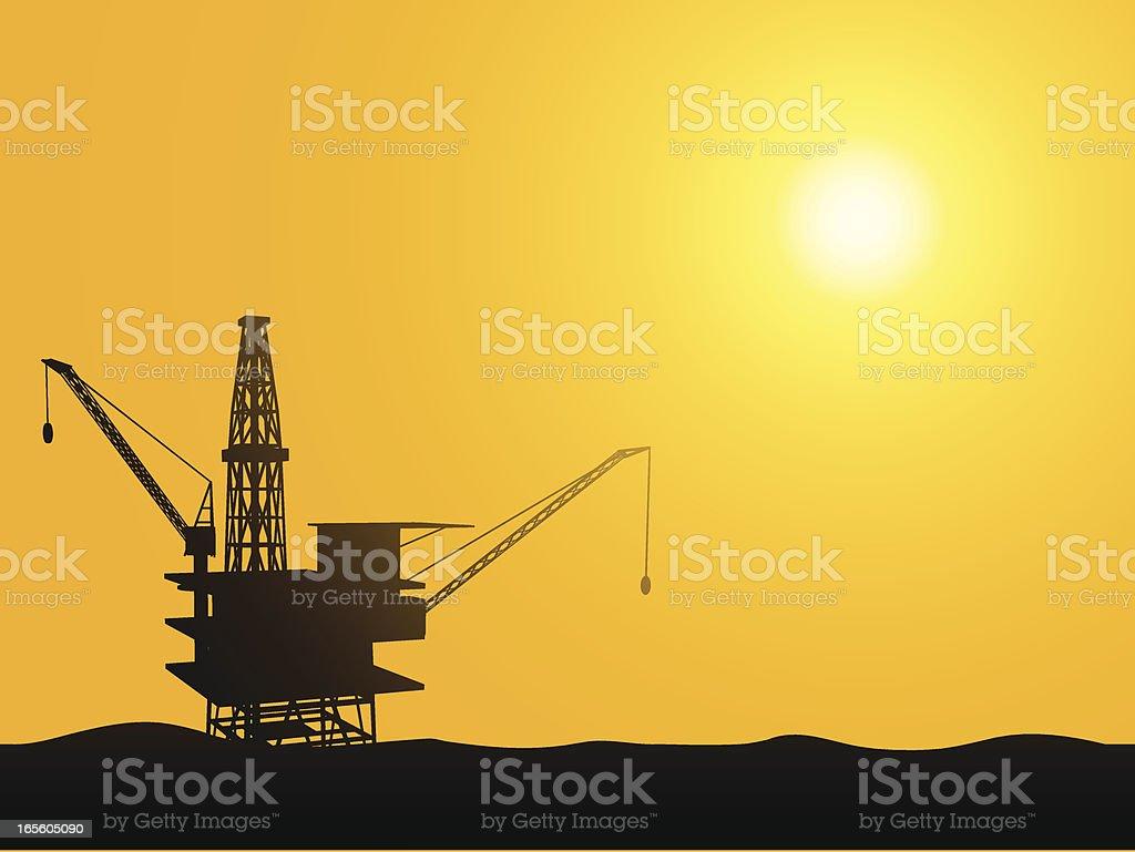 Ocean Oil Rig royalty-free stock vector art