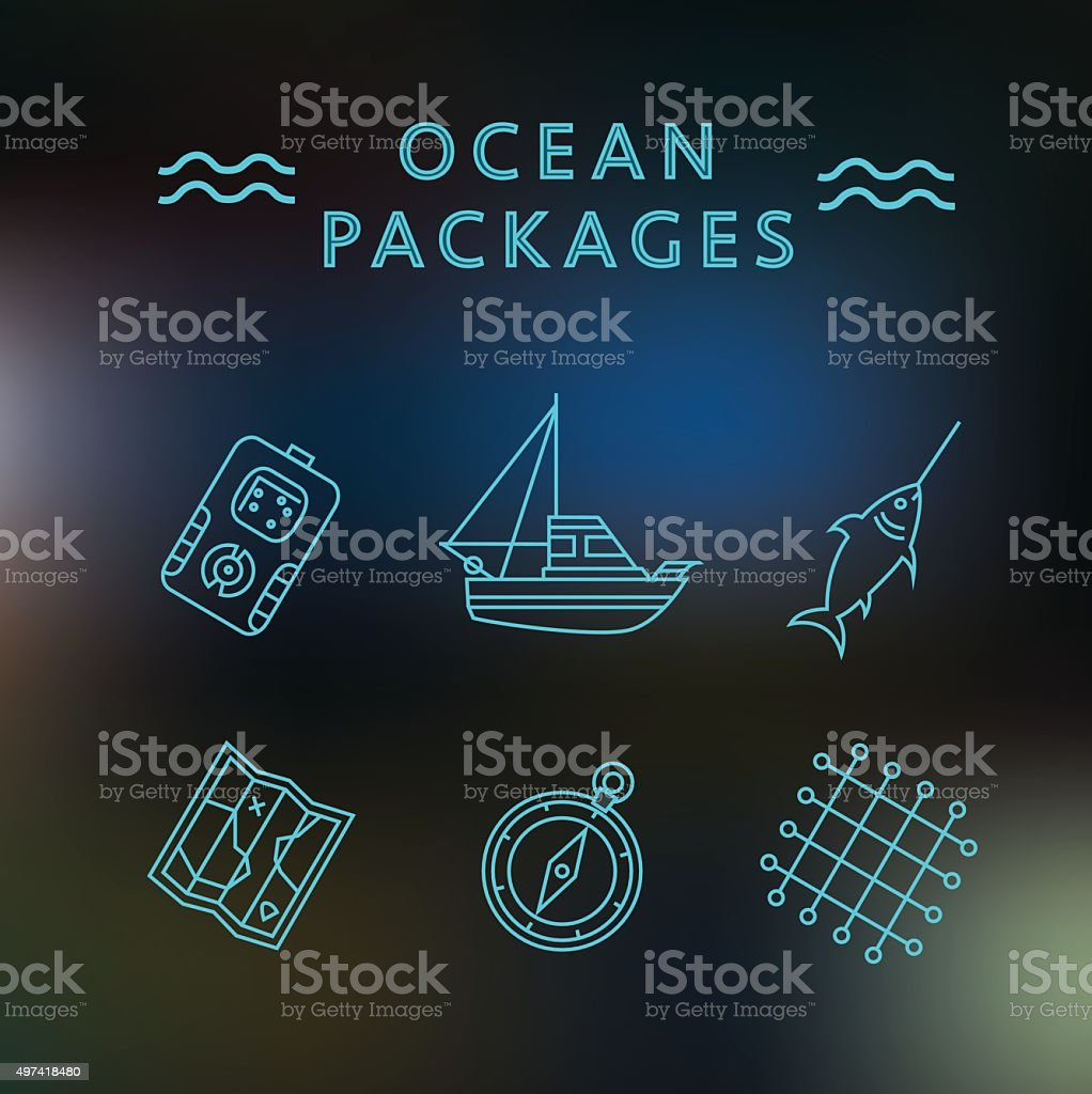 Ocean packages thin line icons on the blur background royalty-free stock vector art