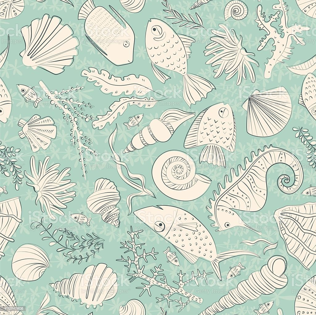 Ocean Pattern vector art illustration