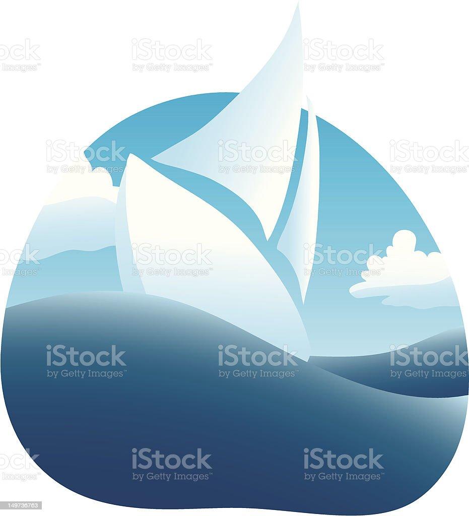 Ocean Sailing vector art illustration