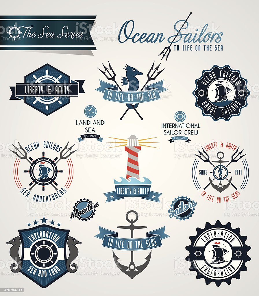 Ocean sailors badges and crests royalty-free stock vector art
