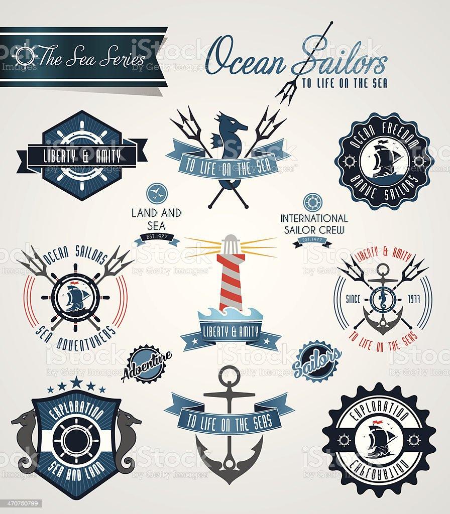 Ocean sailors badges and crests vector art illustration