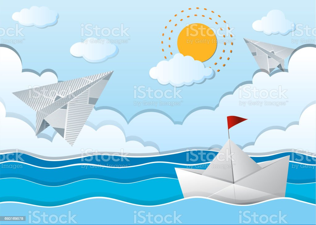 Ocean scene with paper airplane and boat vector art illustration
