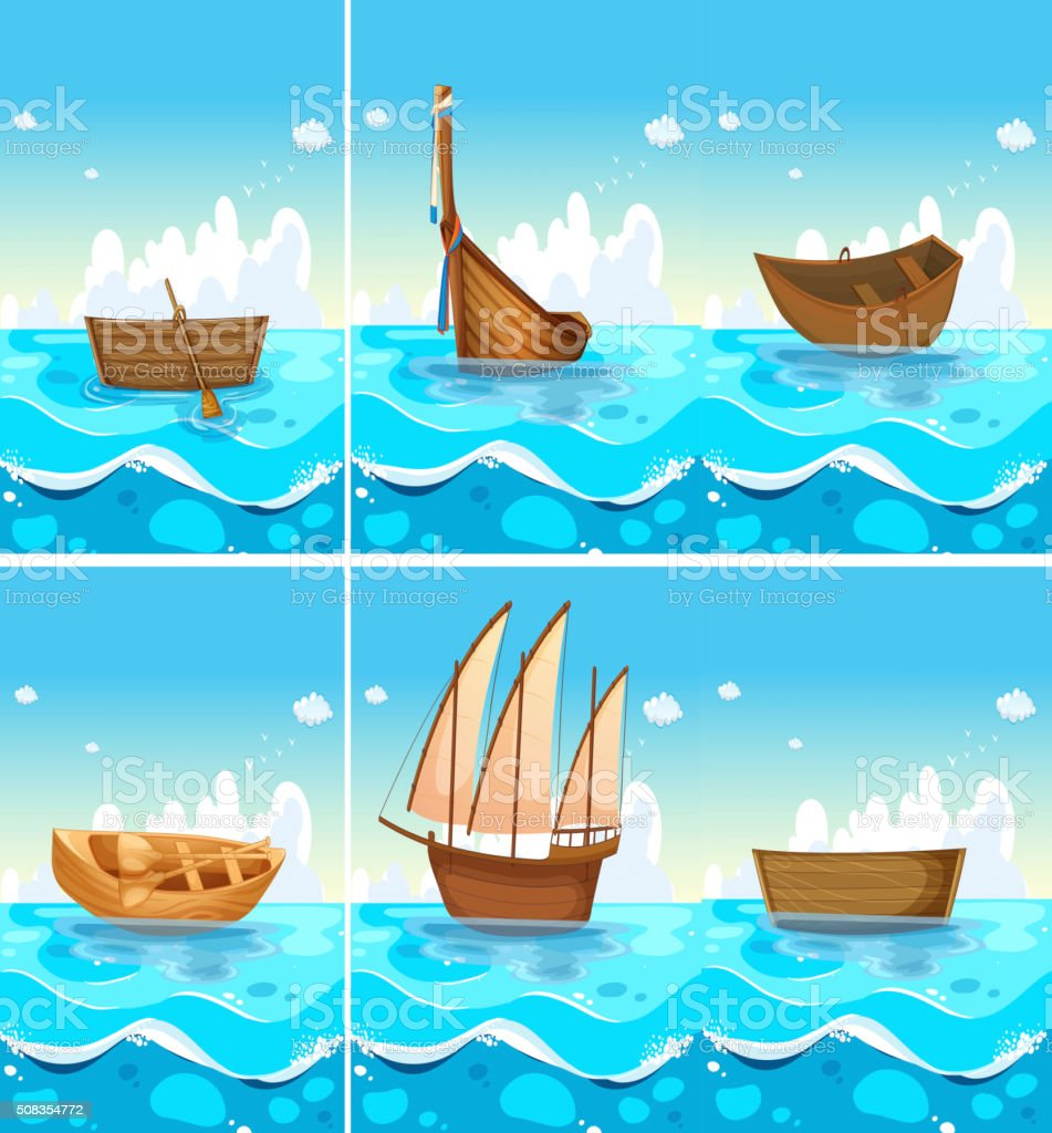 Ocean scenes with boats on water vector art illustration