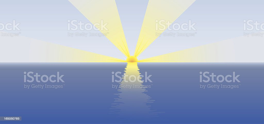 Ocean Sunrise vector art illustration