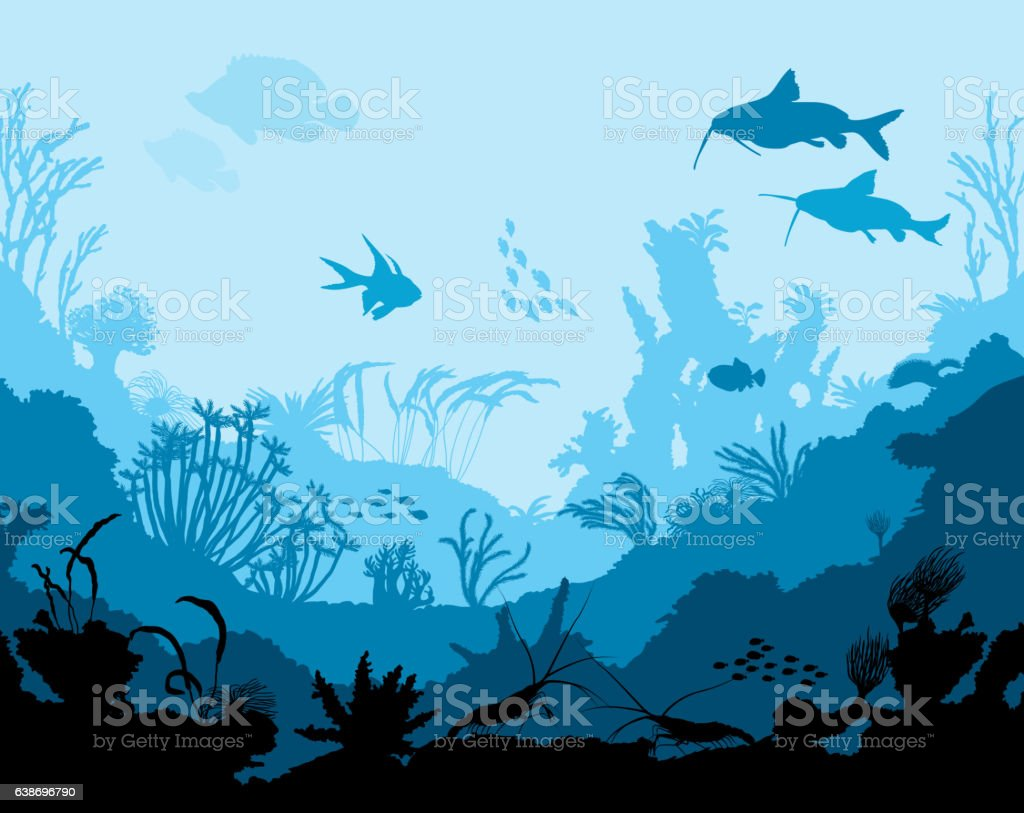 Ocean underwater world with animals vector art illustration
