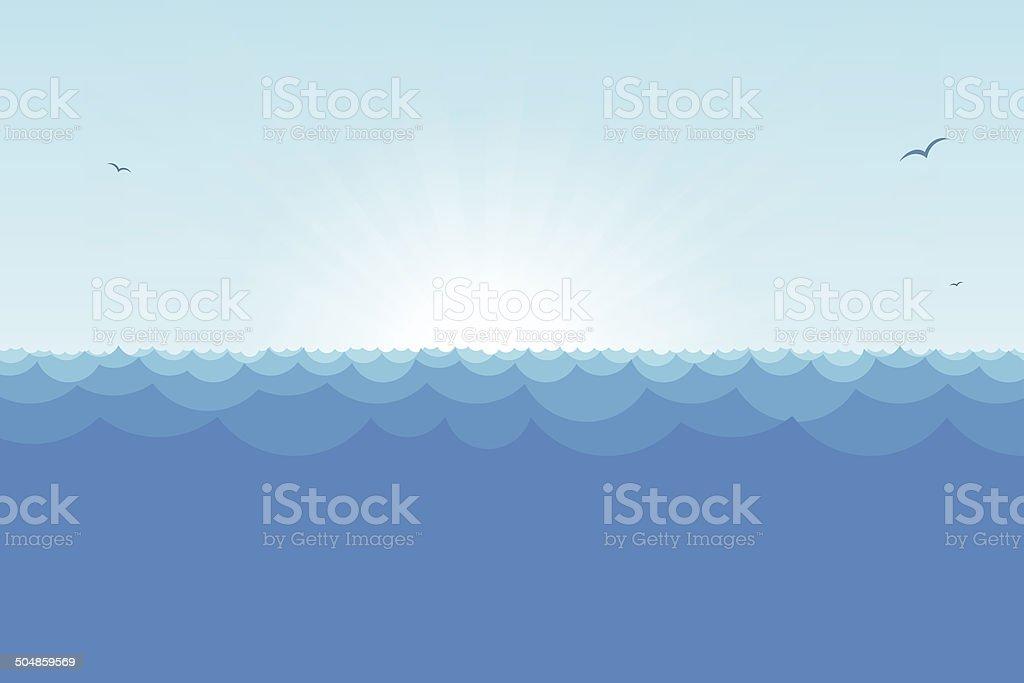 Ocean view with rising sun vector art illustration