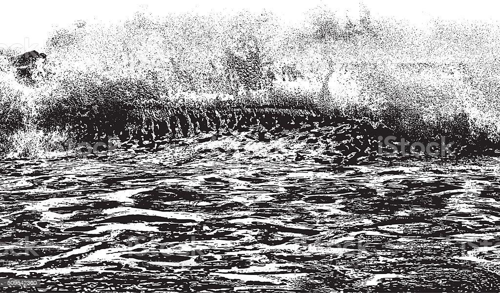 Ocean Wave Crashing On Shore vector art illustration