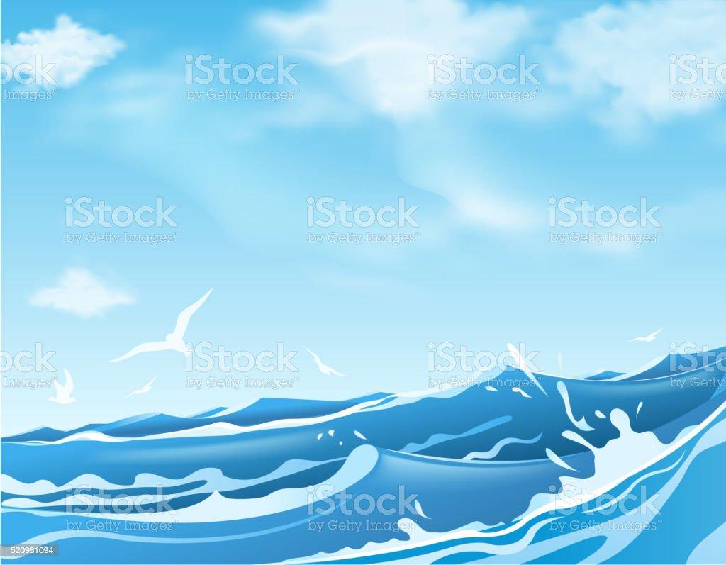 ocean wave vector art illustration