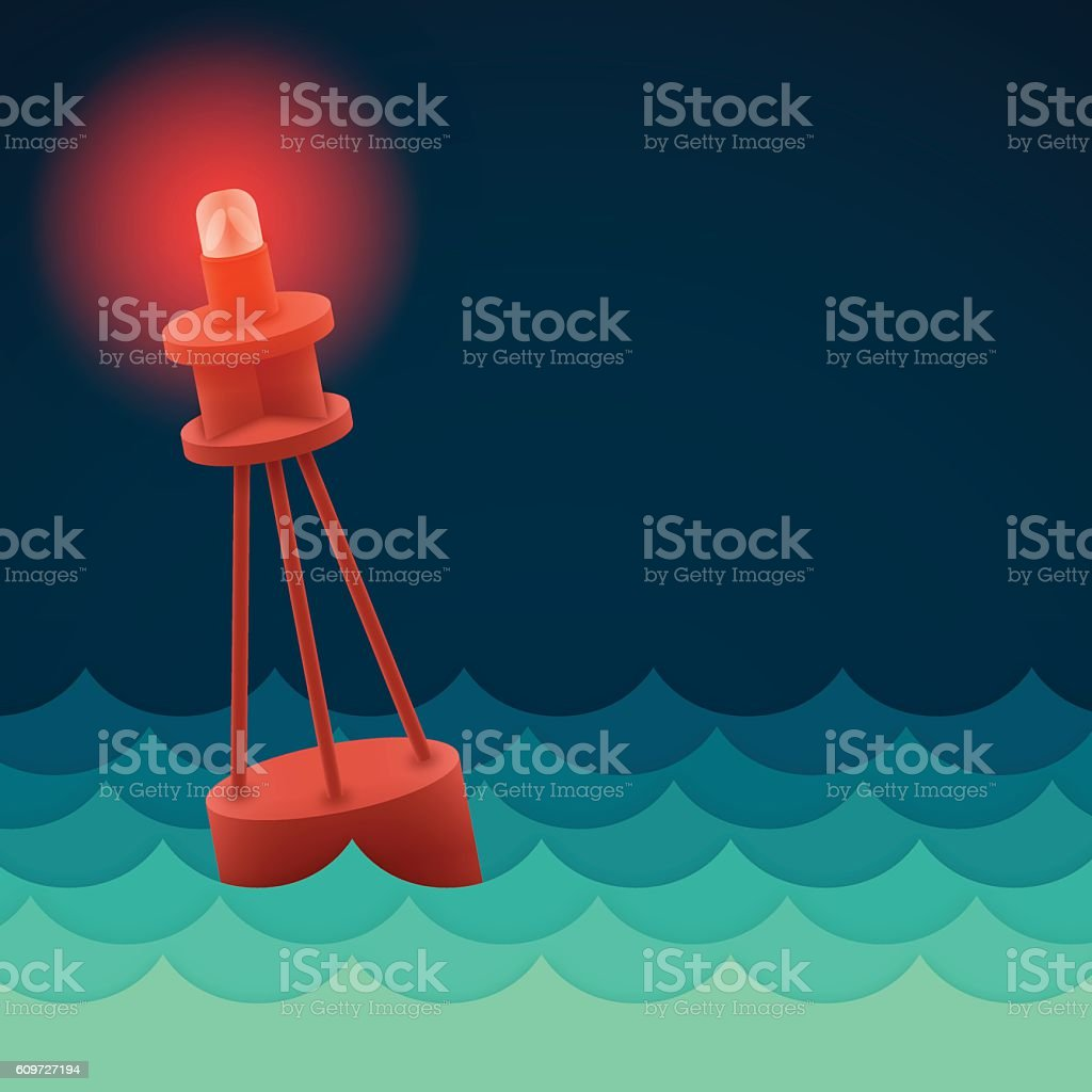 Ocean Waves Beacon vector art illustration