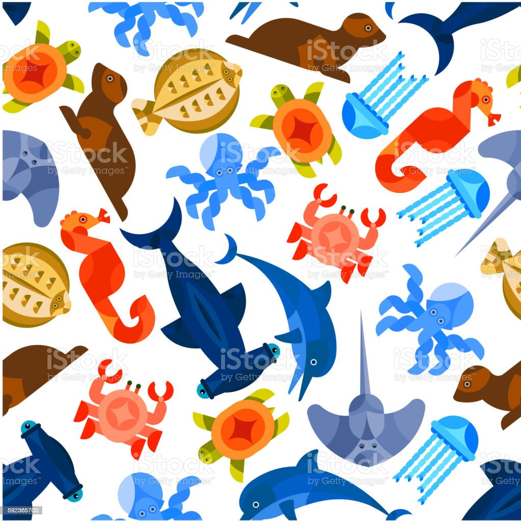 Ocean and sea animals and fishes seamless background. Wallpaper with...