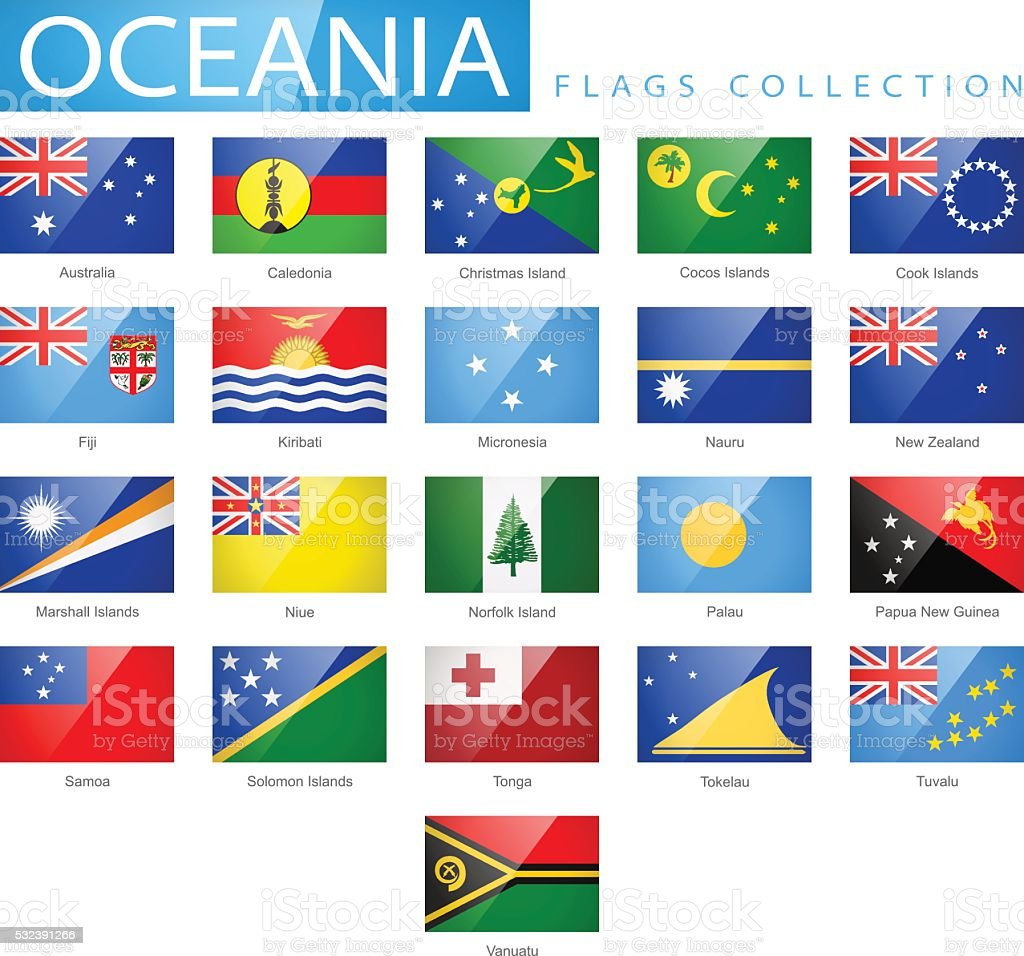 Oceania - Flat Glossy Rectangle Flag Icons - Illustration vector art illustration