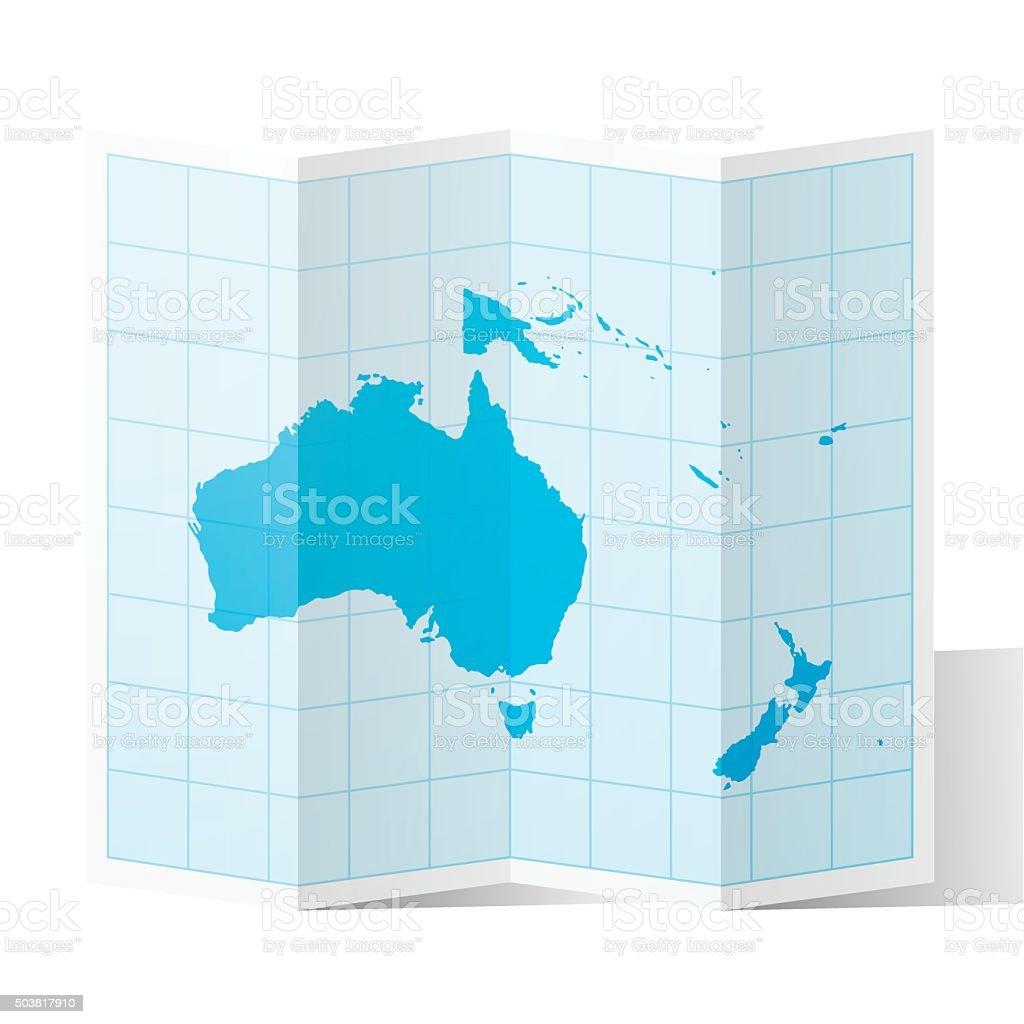Oceania Map folded, isolated on white Background vector art illustration