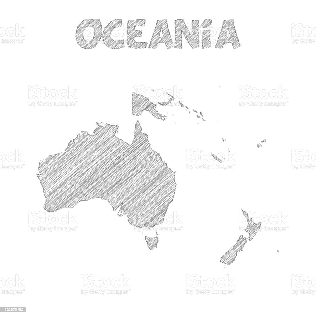 Oceania map hand drawn on white background vector art illustration