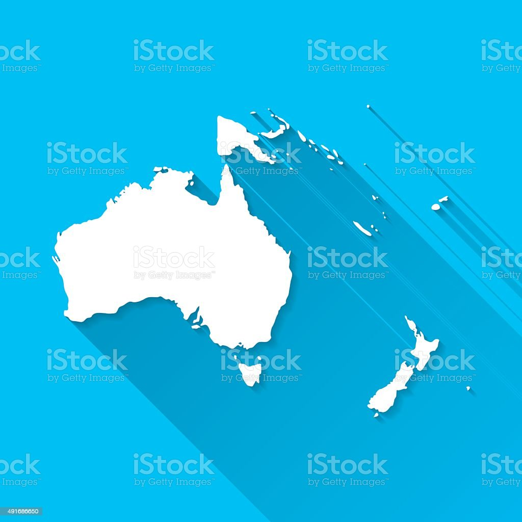 Oceania Map on Blue Background, Long Shadow, Flat Design vector art illustration