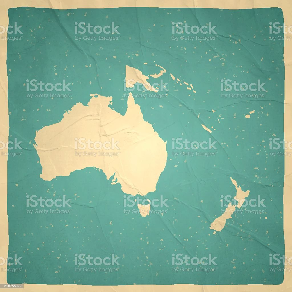 Oceania Map on old paper - vintage texture vector art illustration