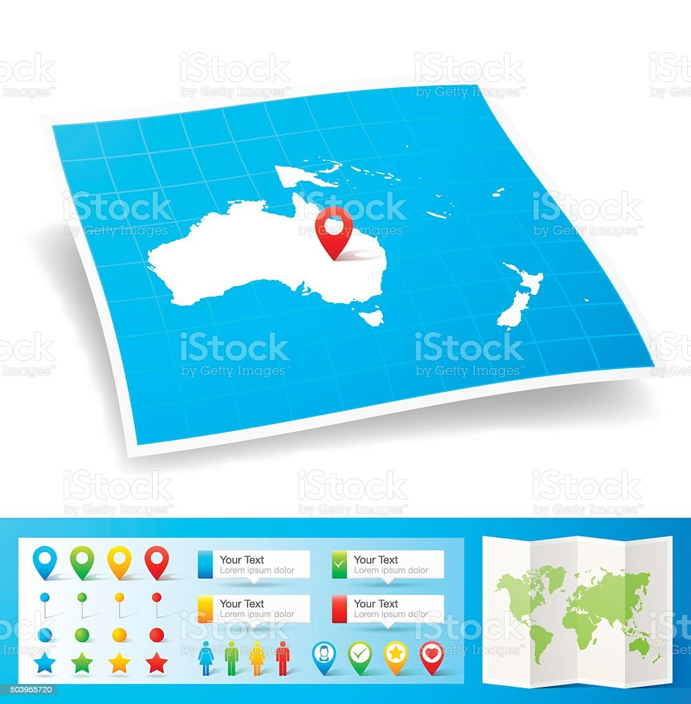 Oceania Map with location pins isolated on white Background vector art illustration