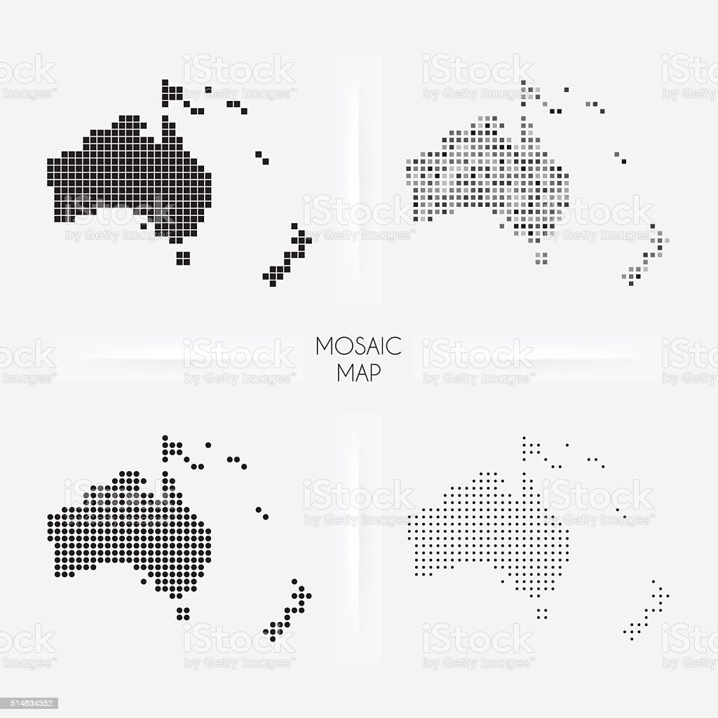 Oceania maps - Mosaic squarred and dotted vector art illustration