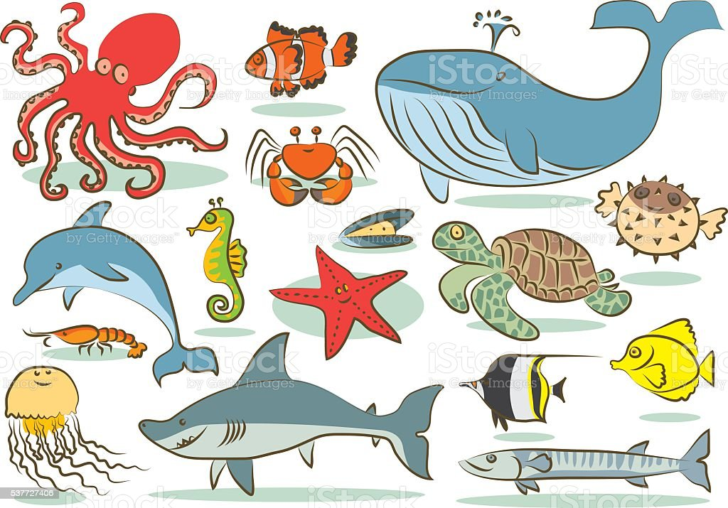 oceanic animals kids drawings royalty free stock vector art - Kids Drawings Images