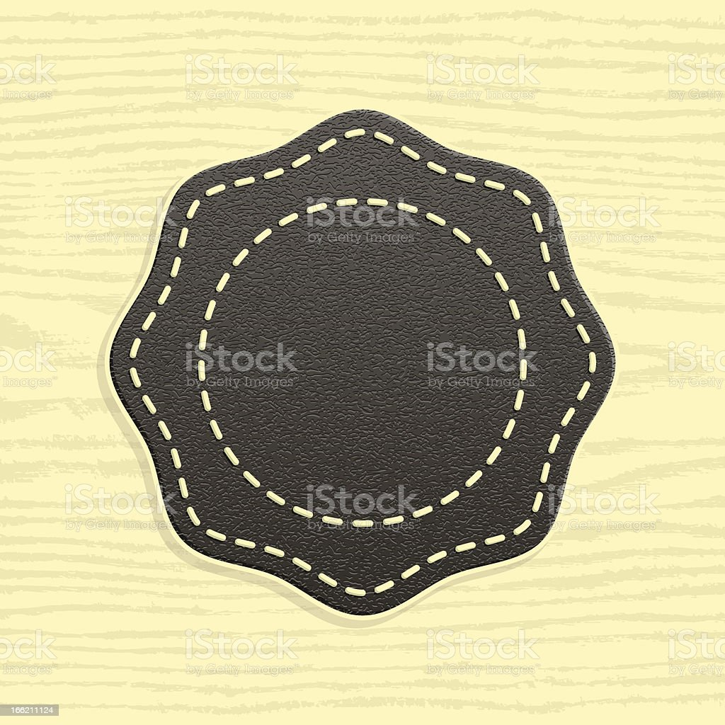 Octagon blank leather label retro vintage style wood texture background vector art illustration