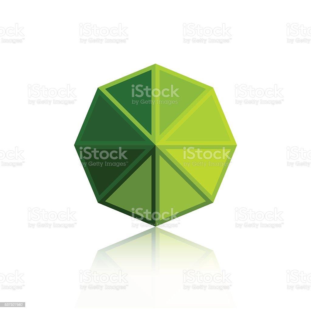 Octagon triangle green icon vector art illustration
