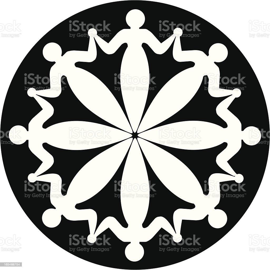 Octet icon: eight linked people vector art illustration