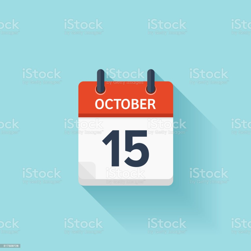 October 15 . Vector flat daily calendar icon. Date and time vector art illustration