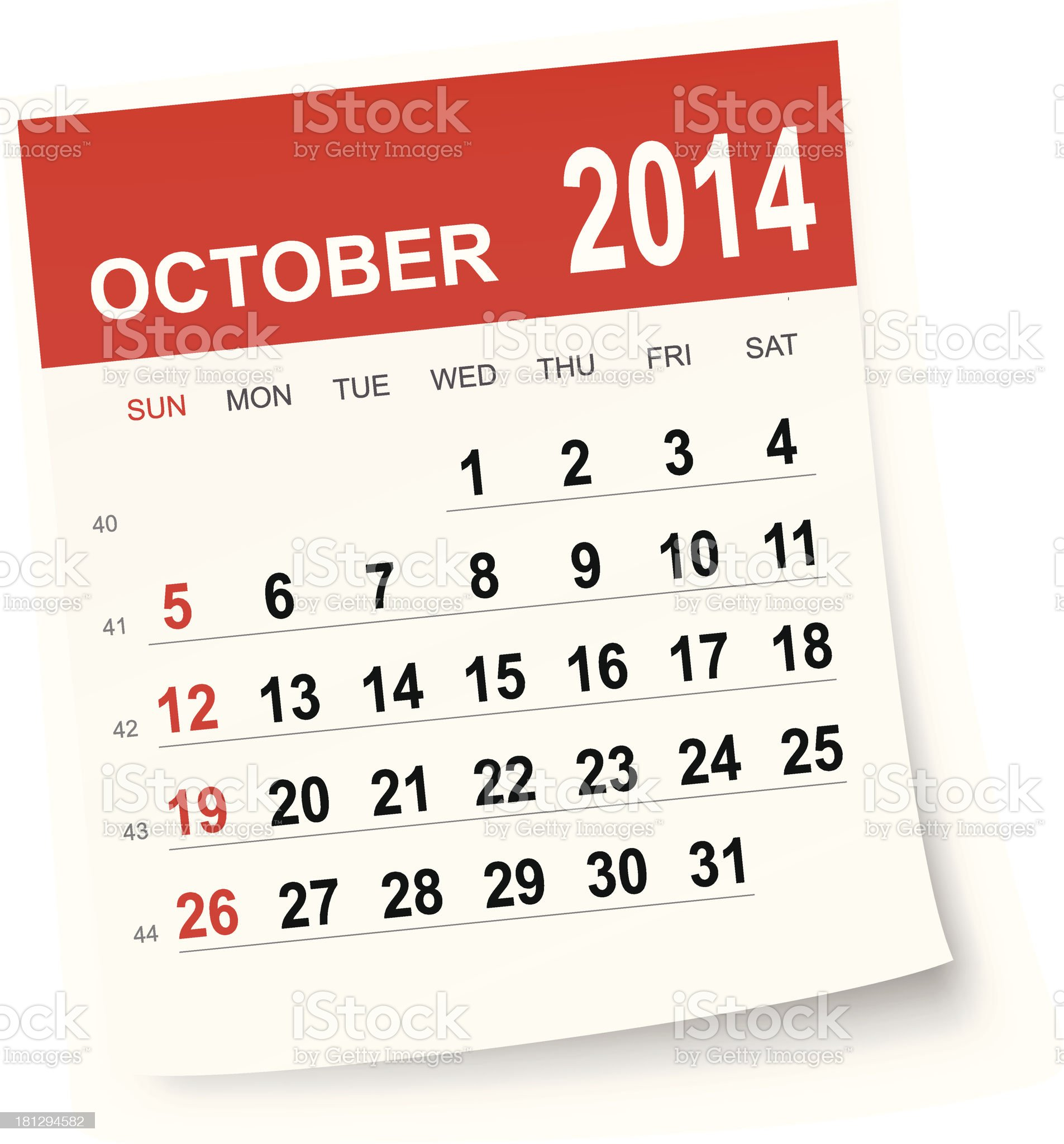 October 2014 calendar royalty-free stock vector art