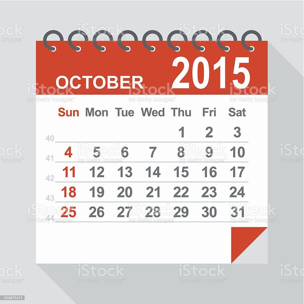 October 2015 calendar - Illustration vector art illustration