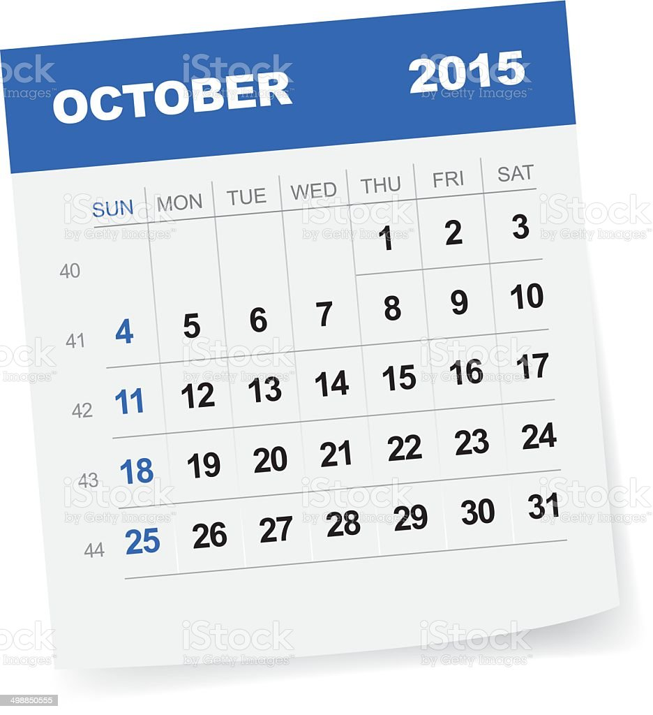 October 2015 Calendar vector art illustration