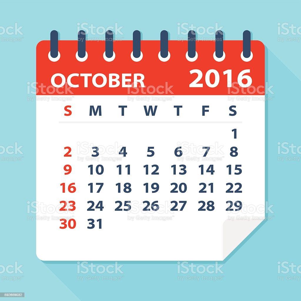 October 2016 calendar - Illustration vector art illustration