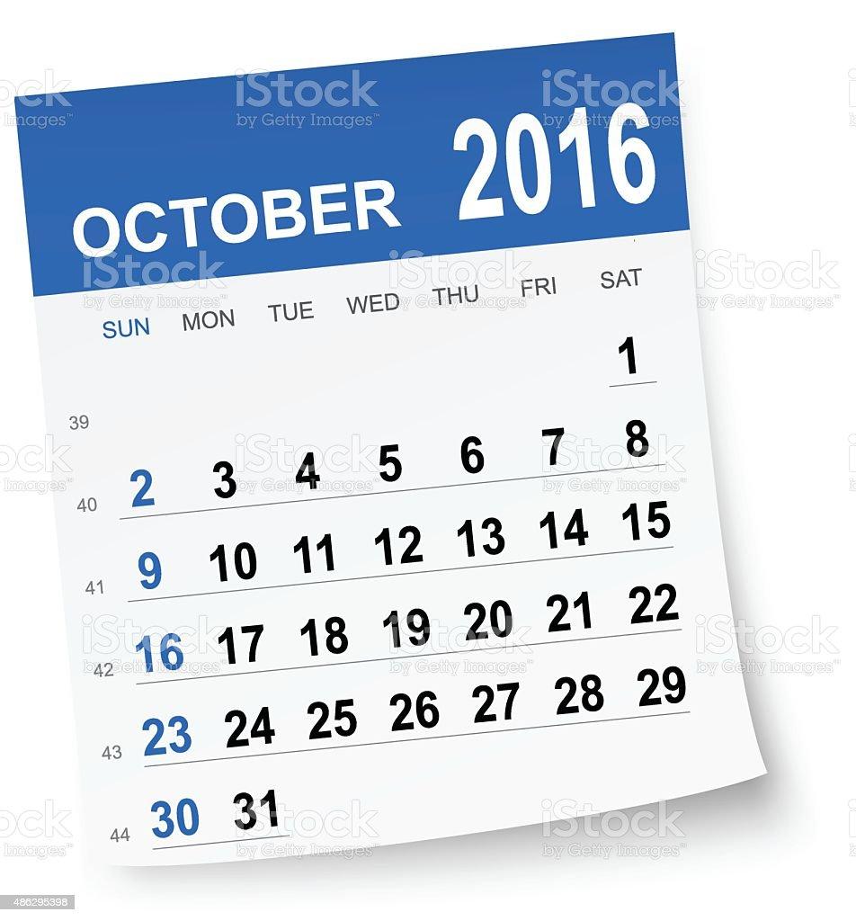 October 2016 calendar vector art illustration