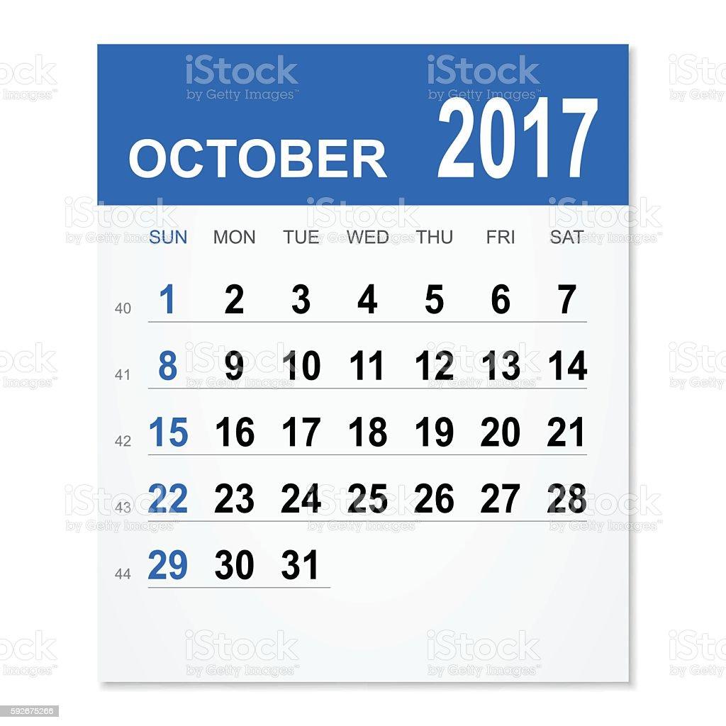 October 2017 calendar vector art illustration