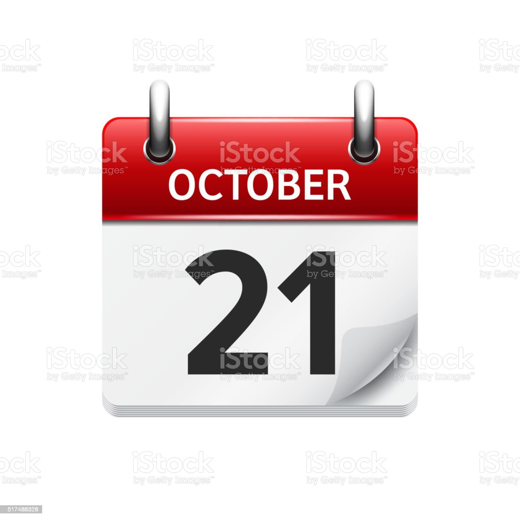 October 21 . Vector flat daily calendar icon. Date and time vector art illustration