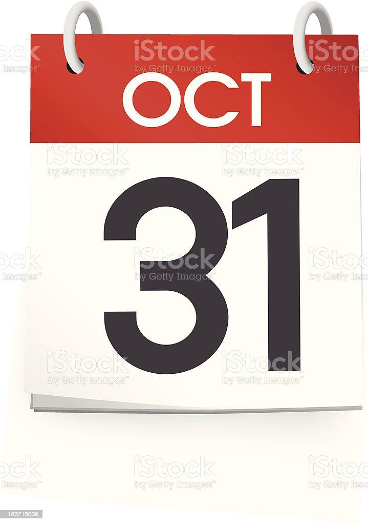 October Calendar vector art illustration