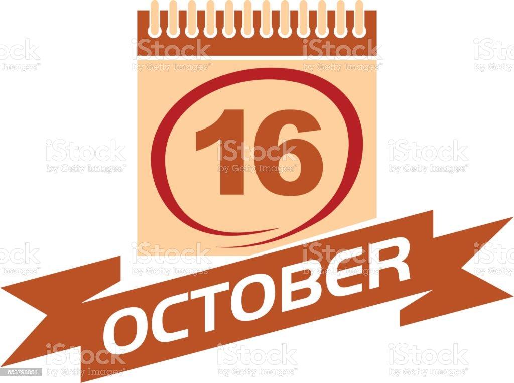 16 October Calendar with Ribbon vector art illustration
