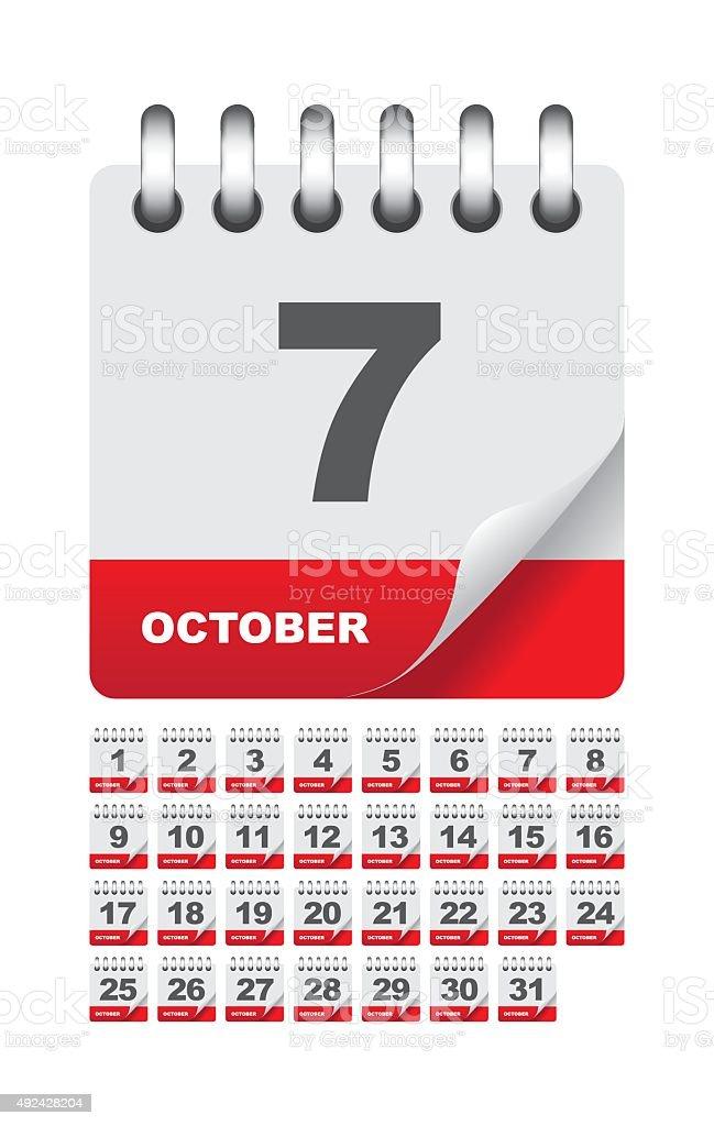 October daily calendar icon set vector art illustration