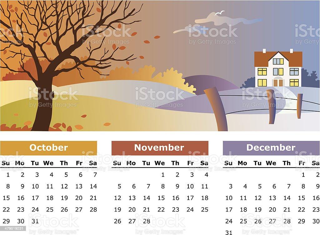 October, november, december - 2006 royalty-free stock vector art