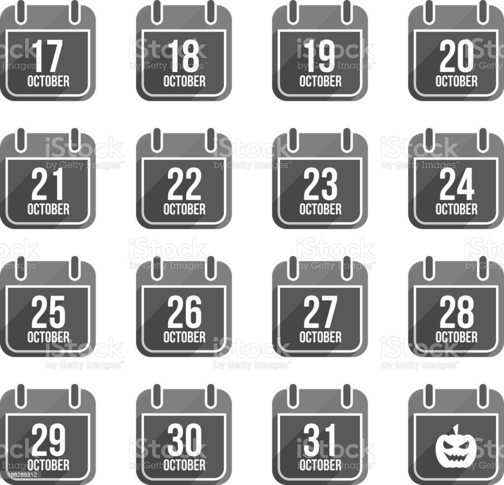 October vector flat calendar icons. Days Of Year Set 2 vector art illustration